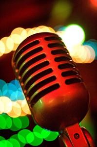 Neon vintage mic